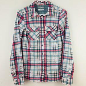 Columbia Omni-Shade Plaid Button Down Shirt Size S